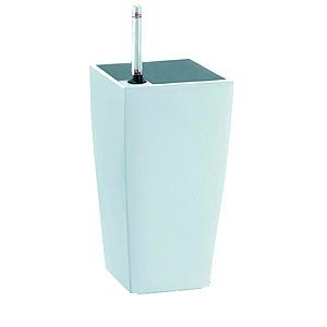 Кашпо Квадратный горшок с автополивом 13.5*13.5*26.5 белый GREEN APPLE.