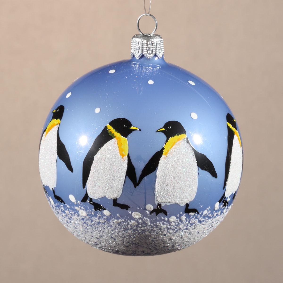 Елочное украшение Шар 80мм Пингвины.