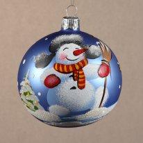 Елочное украшение Шар 80мм Снеговик в ушанке.