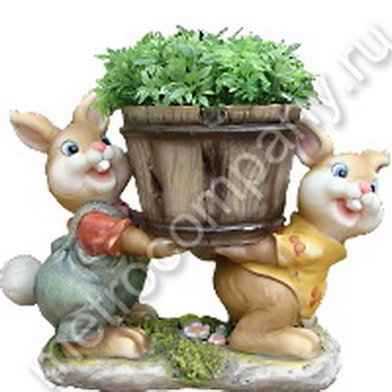 Кашпо Два зайца с горшком №1 23,5*10,8*17 см NF 11244-1.