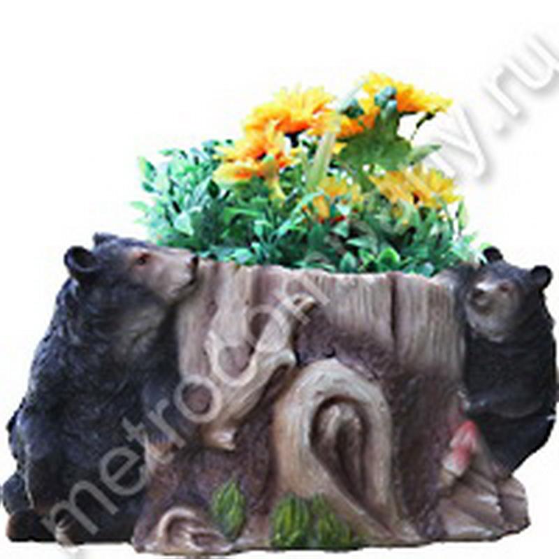 Кашпо Медведи на пеньке №2 23*17,9*13 смNF 12025-2.