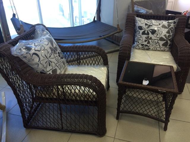 Комплект мебели (ротанг) FWA-102, стол-1шт, стул-2шт, стекло 44*44мм-1шт.