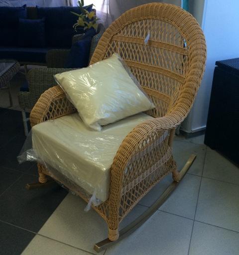 Кресло-качалка LA666 ротанг (мягкие элементы беж цв).