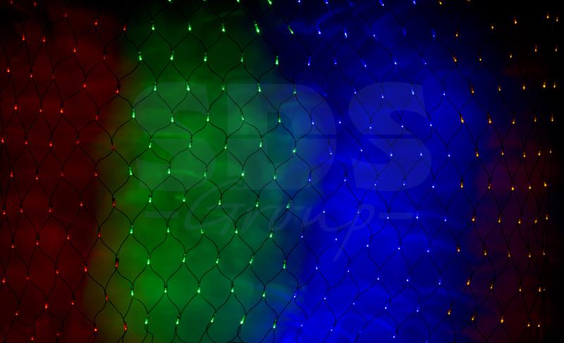 Гирлянда-сеть NEON-NIGHT с динамикой, черн. провод мульти 2х1,5м.
