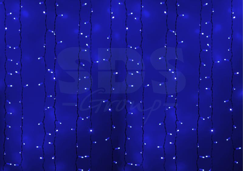 Гирлянда «Светод.дождь» NEON-NIGHT СИНЯЯ пост. свеч. зеленый провод 2х1,5м.