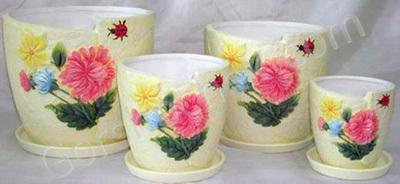 Кашпо керамика комплект Цветы желтые  из 3-х (17,14,11) JJ82680 Китай