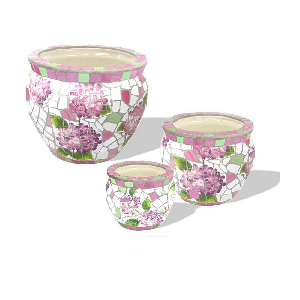Кашпо керамика комплект Цветы розовые из 3-х (20,17,13) JJ82940 Китай