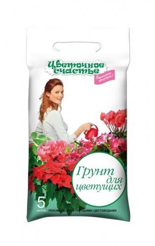 Грунт Цветочное счастье для цветущих Универсальный 5л (10шт/кор)