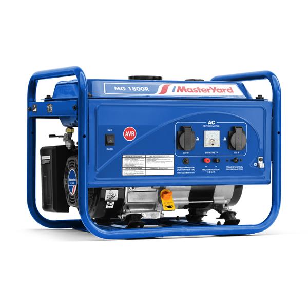 Генератор MasterYard MG 1800R (1,6кВт/1,4кВт, 4-такт, руч.старт, 15ч работы, 12В, 43кг)